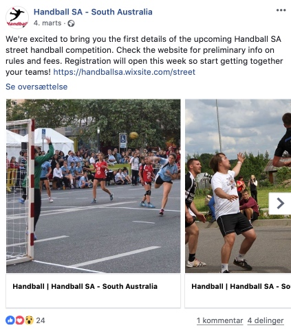 First Street Handball Competition on a tennis court from Australia, Adelaide