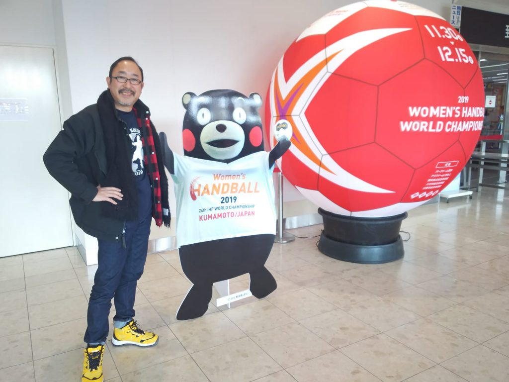 Japan Street Handball Federation payed visit to Women's World Handball Championship Kumamoto, Shirakawa Park, Hiroyuki